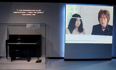 John Lennon's Steinway piano is on display at an exhibition at the New York annex of the Rock and Roll Hall of Fame