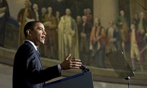 Barack Obama delivers remarks on US national security at the National Archives building in Washington.