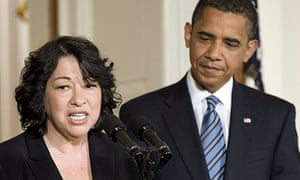 Supreme court justice nominee Sonia Sotomayor speaks as Barack Obama looks on at the East Room of the White House