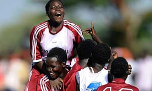 Katine primary school girls celebrate beating rivals Katine Tiriri primary school girls during a match at the finals of the Katine 09 football tournament