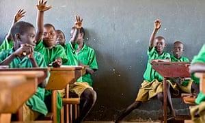 Pupils being taught at Amorikot primary school in Olwelai parish, Katine