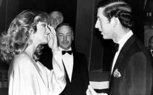 Farrah Fawcett meets Prince Charles backstage at the London Palladium after the Royal show Supernight in 1978
