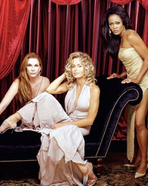 Farrah Fawcett starred with Melissa Gilbert, left, Robin Givens in the American television movie Hollywood Wives: The New Generation