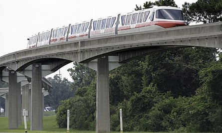 A monorail is parked near Walt Disney World's Epcot theme park in Lake Buena Vista, Florida
