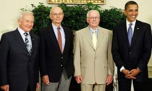 Barack Obama with astronauts Buzz Aldrin, Michael Collins and Neil Armstrong