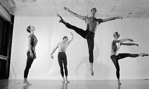 Merce Cunningham rehearses with his dance group in 1957.