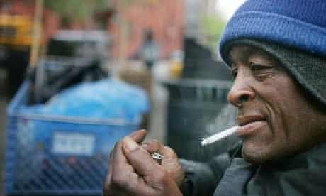 Homeless man in New York City