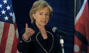 Hillary Clinton, the US secretary of state, speaks at the Africa Growth Opportunities Act forum in Nairobi