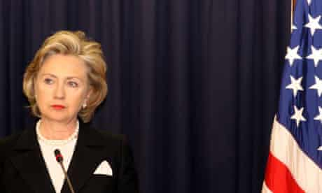 Hillary Clinton, the US secretary of state, attends a press conference at the US Embassy in Nairobi.