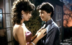 Kelly LeBrock and Ilan Mitchell-Smith in a scene from the 1985 comedy Weird Science