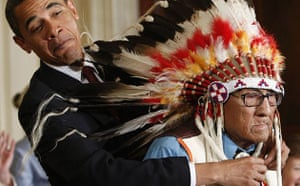Barack Obama presents the presidential medal of freedom to Joe Medicine Crow during a ceremony at the White House
