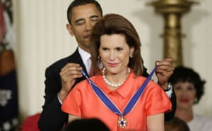 Barack Obama presents the presidential medal of freedom to Nancy Goodman Brinker, the founder of Susan G Komen for the Cure, the world's leading breast cancer grassroots organisation named for Brinker's sister