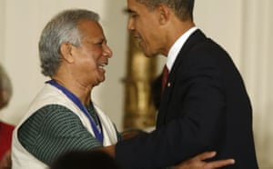 Barack Obama presents the presidential medal of freedom to Muhammad Yunus at the White House
