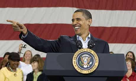 Barack Obama holds a town hall meeting on healthcare in Belgrade, Montana.