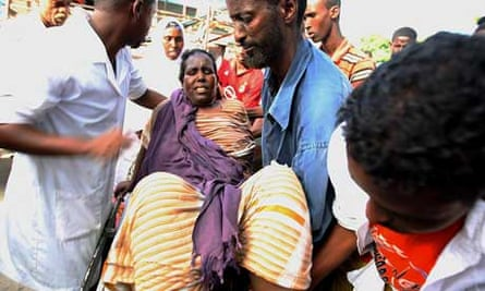 A woman wounded by a mortar round in Somalia