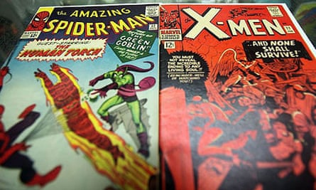 Spider-Man and X-Men comic books on display at St Mark's Comics in New York.