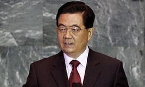 Chinese president Hu Jintao makes remarks at the UN summit on climate change