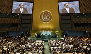 Barack Obama speaks during a summit on climate change at the United Nations in New York.