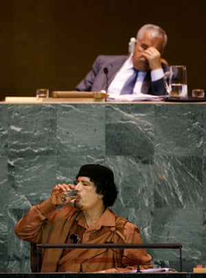 Muammar Gaddafi drink water during during his speech to the UN general assembly