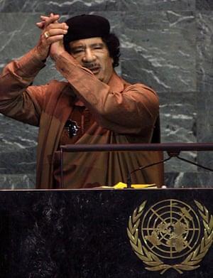 Muammar Gaddafi finishes his speech at the UN general assembly