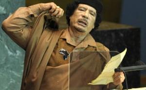 Muammar Gaddafi addresses the UN general assembly