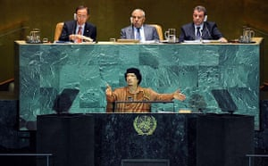 Muammar Gaddafi addresses the UN general assembly.