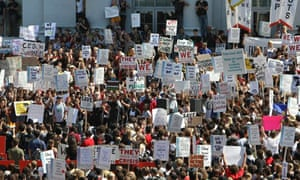 University of California Berkeley students and faculty protest against fee increases and budget cuts