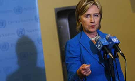 Hillary Clinton speaks to the media after a UN security council meeting.