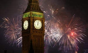 Fireworks light up the London skyline just after midnight on 1 January 2009 in England
