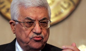 The Palestinian Authority president, Mahmoud Abbas, at a press conference in Cairo