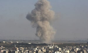 Smoke rises over Gaza City after Israeli air strikes.
