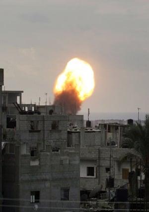 Gallery Gaza: A ball of fire following an Israeli air strike in Rafah