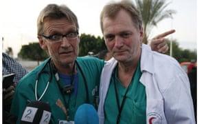 Norwegian doctors Mads Gilbert and Erik Fosse in Gaza