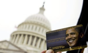 Commemorative Washington DC Metro card with the face of U.S. President-elect Barack Obama