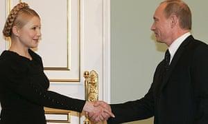 Yulia Tymoshenko and Vladimir Putin in Moscow
