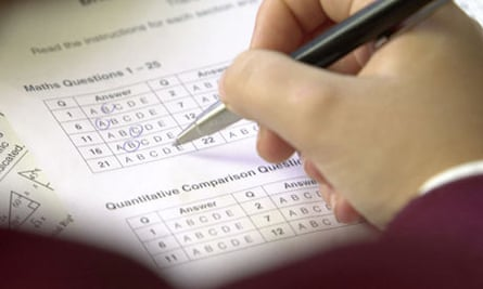 A pupil fills in a multiple choice exam paper