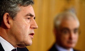 Gordon Brown and Alastair Darling at a press conference to announce the new banks bail-out
