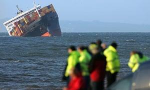 The beached cargo ship MSC Napoli off the coast of Devon in 2007