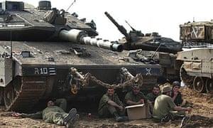 Israeli forces resting near the Gaza border in Israel