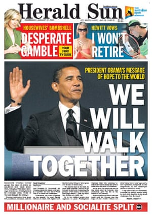 Gallery Obama world front pages: Herald Sun