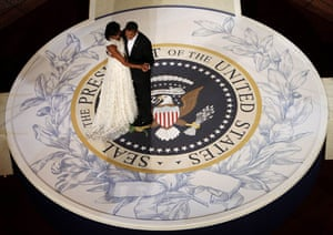 Gallery Eyewitness: Barack and Michelle Obama dance on a replica of the presidential seal