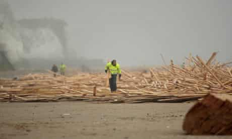 A cargo of timber lost from the Russian ship Sinegorsk washes ashore near Ramsgate in Kent.