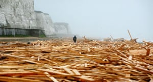 Gallery Timber galore: A man walks through timber washed up in Ramsgate