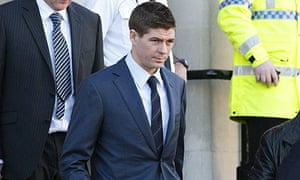 Steven Gerrard leaves North Sefton magistrates court in Southport