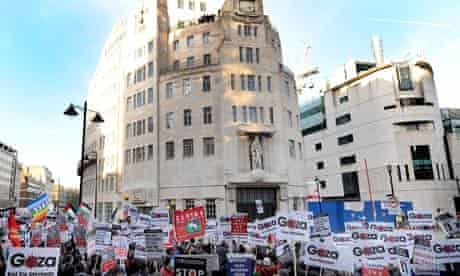 Protestors demonstrate outside the BBC building in London