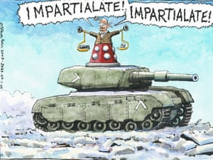 27.01.09: Steve Bell on the BBC's refusal to broadcast an emergency appeal for Gaza