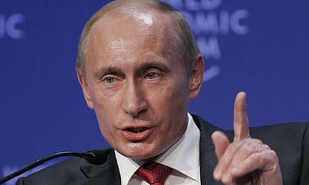 Vladimir Putin, the Russian prime minister, speaking at Davos