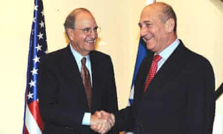 Israeli prime minister, Ehud Olmert with US special envoy to the Middle East, George Mitchell