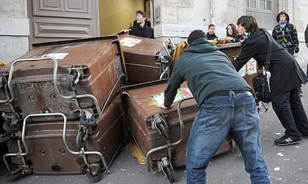 Students block their highschool with dustbins in Marseille, southern France
