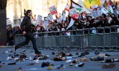 Palestinian protest against Israeli air strikes